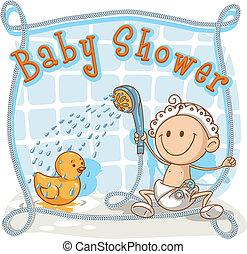 赤ん坊, 漫画, シャワー, 招待