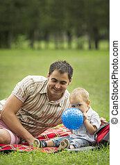 赤ん坊, 父, 公園, 息子