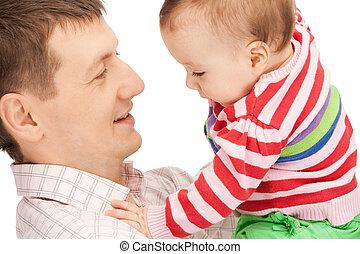 赤ん坊, 父, 愛らしい, 幸せ