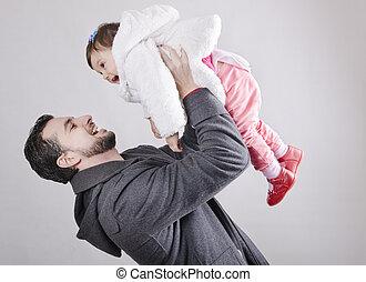 赤ん坊, 父, 持ち上がること