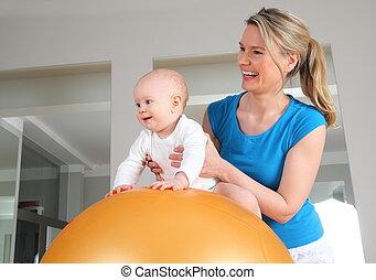 赤ん坊, 物理療法, ボール, フィットネス