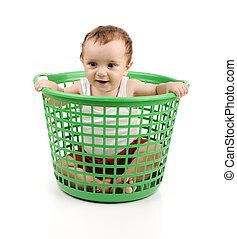 赤ん坊, 男の子, 箱, プラスチック