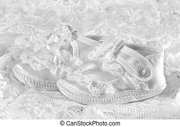 赤ん坊, 白, 毛糸編み幼児靴, レース, 背景