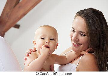 赤ん坊, 肖像画, 幸せ, 一緒に, 母