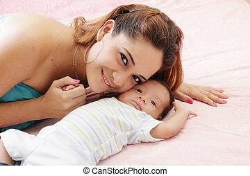 赤ん坊, 肖像画, 彼女, 母