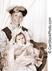 赤ん坊, 肖像画, victorian, 家族, 母
