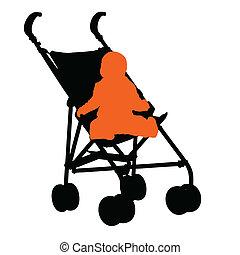 赤ん坊, 行く, カート, 歩きなさい