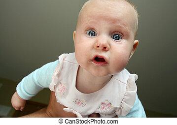 赤ん坊, 見る, 女の子, カメラ