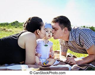 赤ん坊, 親, 屋外, 公園, 若い