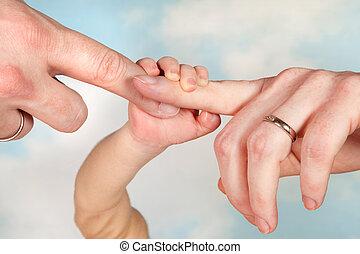 赤ん坊, 親, 手を持つ
