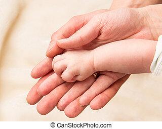 赤ん坊, 親, 手, クローズアップ, 手