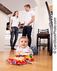 赤ん坊, 親, 遊び, 背景, 床