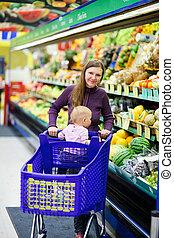 赤ん坊, 買い物, スーパーマーケット, 母
