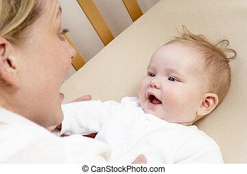 赤ん坊, 遊び, 折畳み式ベッド, 母