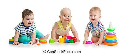 赤ん坊, 隔離された, 託児所, 背景, おもちゃ, 白, 遊び