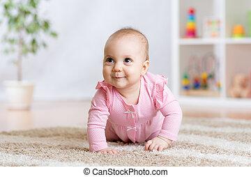 赤ん坊, 面白い, 屋内, 家, 這う