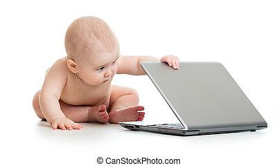 赤ん坊, 面白い, 遊び, ノート