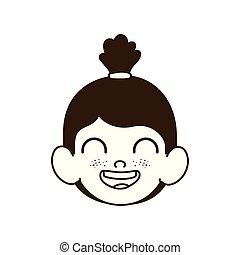 赤ん坊, 頭, シルエット, 女の子の微笑