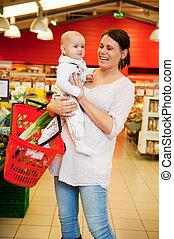 赤ん坊, 食料雑貨品店