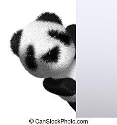 赤ん坊, 3d, のぞき見, パンダ, から