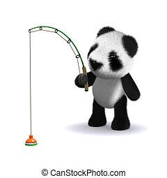 赤ん坊, 3d, 釣り, 熊, パンダ
