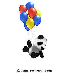 赤ん坊, balloon, 3d, 乗車, パンダ