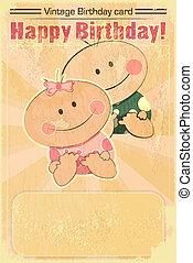 赤ん坊, birthday, デザイン, レトロ, カード