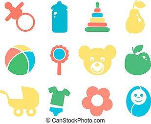 赤ん坊, icon., セット, オブジェクト, カラフルである
