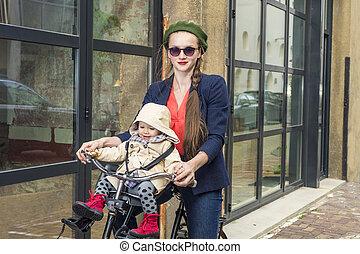 赤ん坊, moter, 自転車, 娘