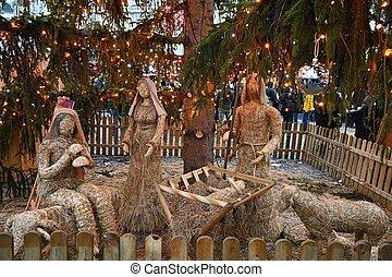 赤ん坊, nativity, クリスマス場面, 美しい, 背景, キリスト教徒, jesus., holidays., 伝統的である