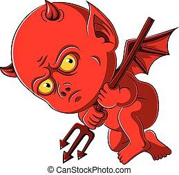 赤ん坊, trident, 悪魔, 赤