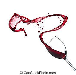 赤ワイン, はねかけること, から, ガラス, 隔離された, 白, 背景