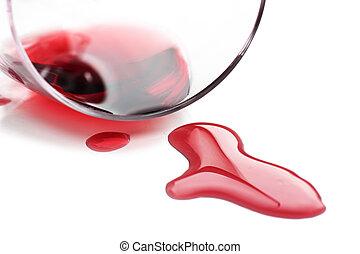 赤ワイン, ガラス, こぼされる