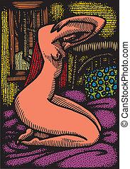 赤裸, piccaso, 婦女, 相象, 形式