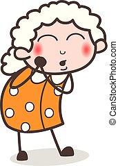 赤面, イラスト, 顔, ベクトル, おばあさん, 不思議である, 表現, 漫画