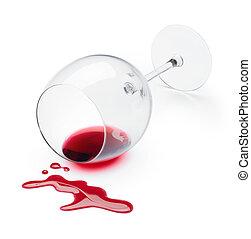 赤, こぼれること, ワイン