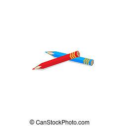 赤, そして, 暗い 青, pencils., ベクトル