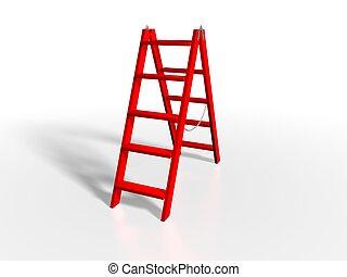赤, はしご, 白, 背景
