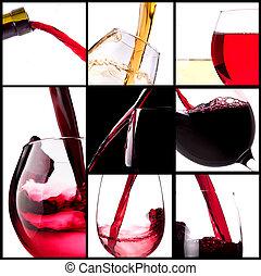 赤, はねかけること, ワイン, セット