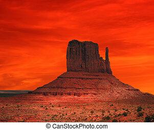 赤, アリゾナ, 日没