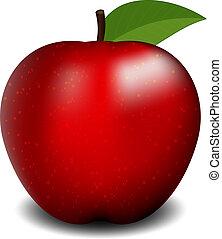 赤, イラスト, ベクトル, アップル
