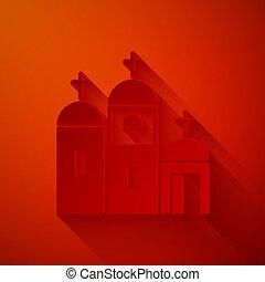 赤, イラスト, style., アイコン, バックグラウンド。, 建物, キリスト教徒, 宗教, 隔離された, 切口, church., 芸術, ペーパー, 教会, ベクトル