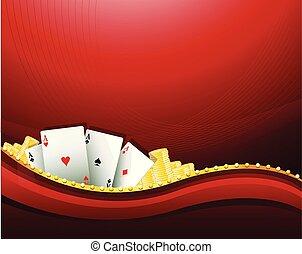 赤, カジノ, ギャンブル, 背景, 要素