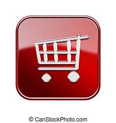 赤, カート, 背景, アイコン, 隔離された, 買い物, 白