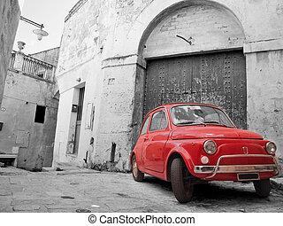 赤, クラシック, 車。