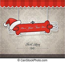赤, クリスマスカード, hat.
