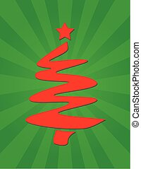 赤, クリスマスツリー, グラフィック