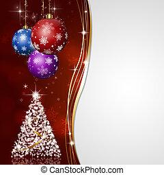 赤, クリスマス, グリーティングカード