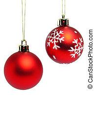 赤, クリスマス, ボール