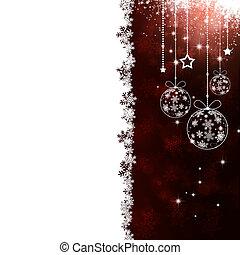 赤, クリスマス, 休日, カード